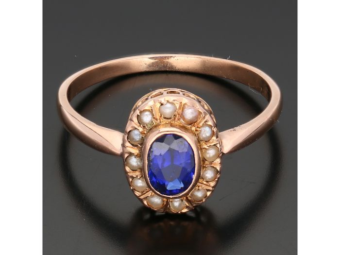 18 kt. Pink gold - Ring Iolite - Seed beads