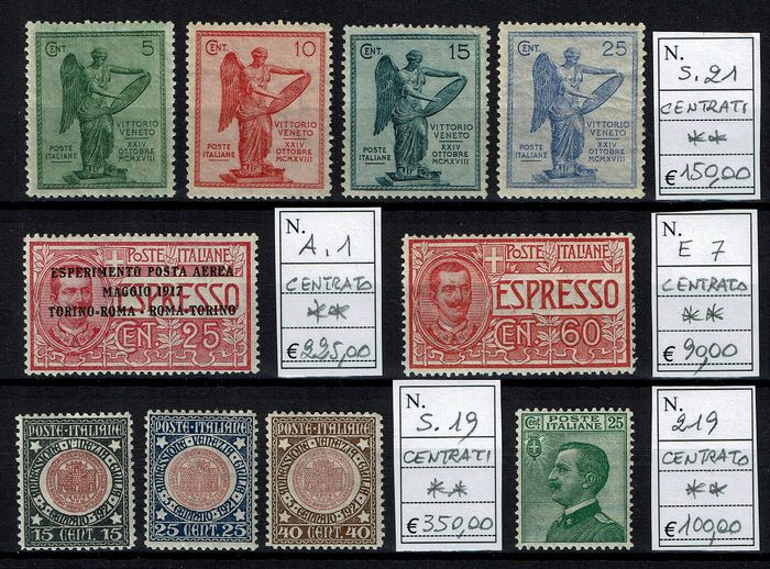 Italy Kingdom 1917/1927 - Lot of complete sets NN. S.21, A 1, E 7, S.19, 219