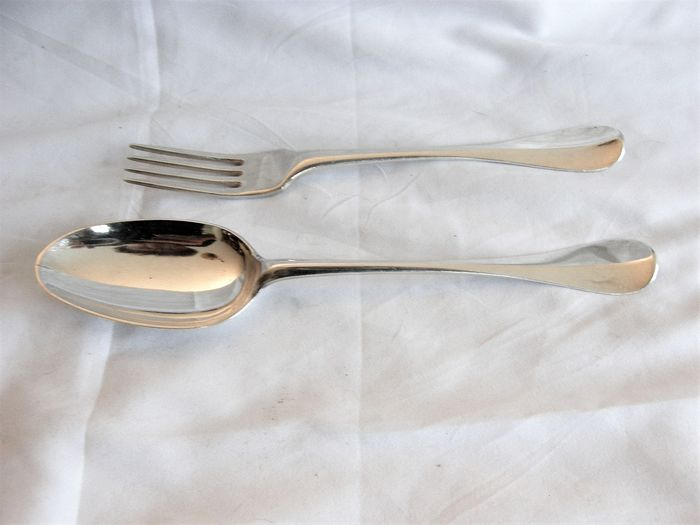 Couvert, Antique silver place setting - .934 silver - Benjamin Overdorp - Deventer - 1756 - Netherlands - mid 18th century