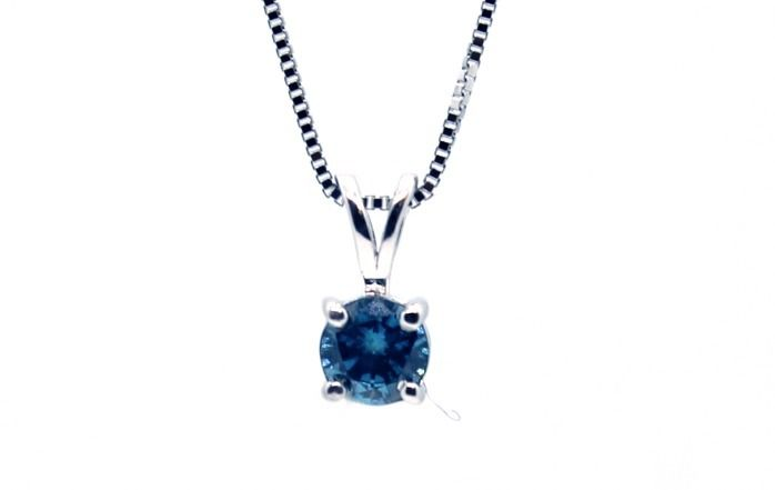14 kt. White gold, Fancy Turquoise - Pendant - Colour Treated 0.17 ct Diamond