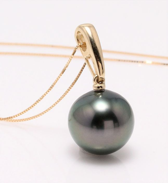 no reserve - 18 kt. Yellow Gold -11.2mm Round Tahitian Pearl - Necklace with pendant