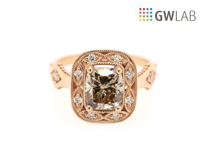 14 kt. Pink gold - Ring - 2.03 ct Diamond - SI1 - Fancy Light Brown - No Reserve Price