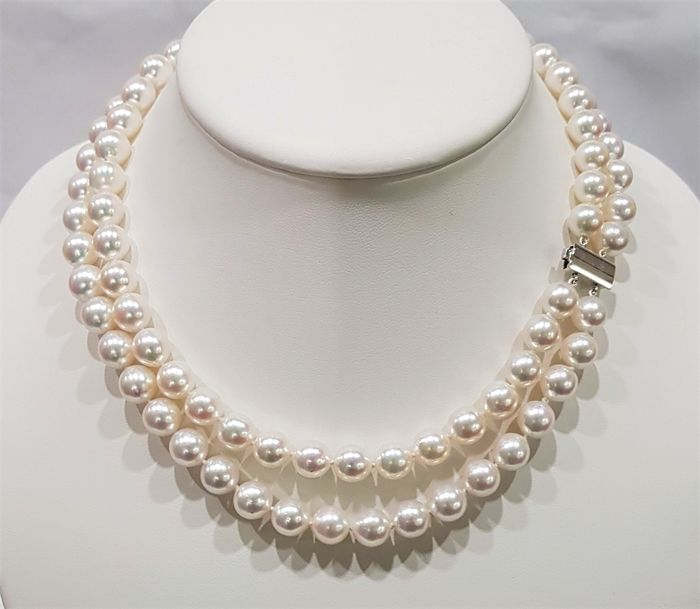 NO RESERVE PRICE - 18 kt. White Gold - Top grade 8.5x9mm Akoya Pearls - Double 2strand Necklace