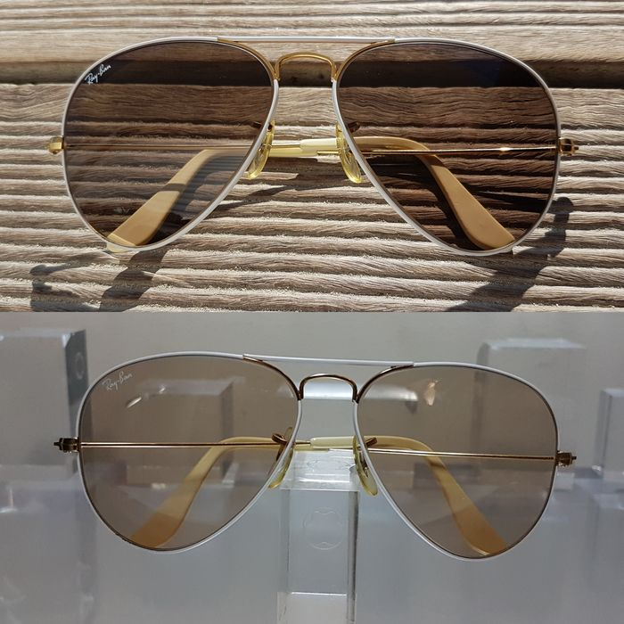 Bausch and Lomb Ray Ban Usa  - Aviator Flying Color White Changeable Brown - 58□14 - 1980'S Zonnebril