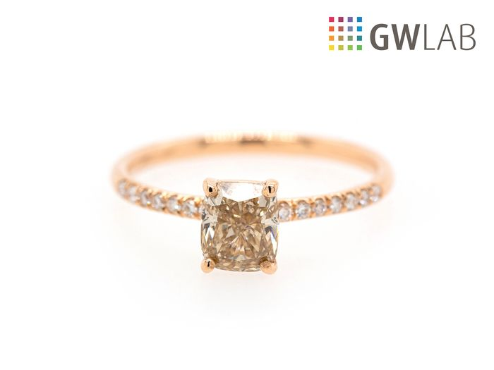 14 kt. Pink gold - Ring - 1.10 ct Diamond - Fancy Light Brownish Yellow - SI1 - No Reserve Price