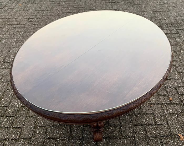 Oval coulisse table with glass plate for 10 to 12 people - Wood - Mid 19th century