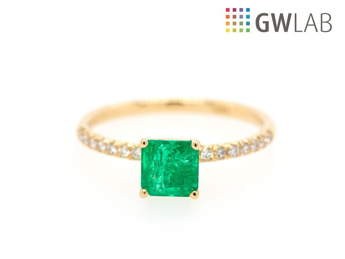 14 kt. Yellow gold - Ring - 0.87 ct Emerald - 0.13ct - VVS - No Reserve Price