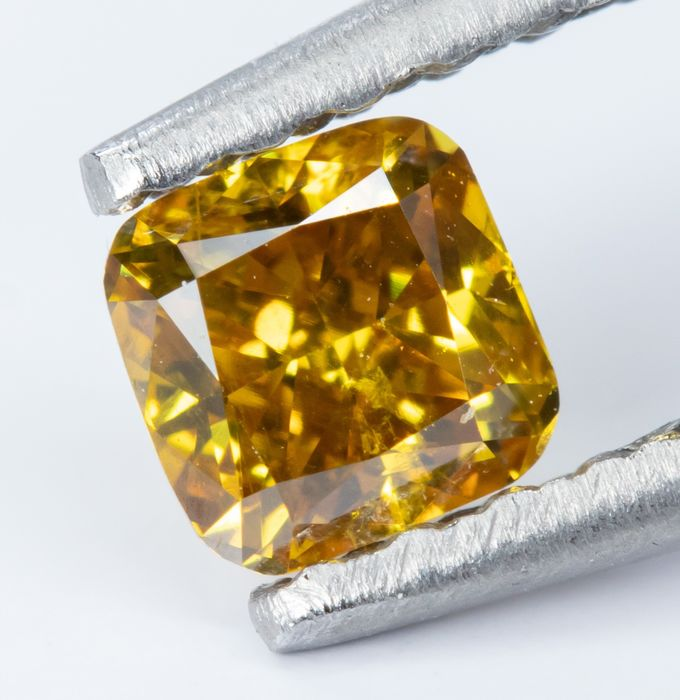 Diamant - 0.23 ct - Naturel fantaisie Vivid orangé jaune - SI2  *NO RESERVE*