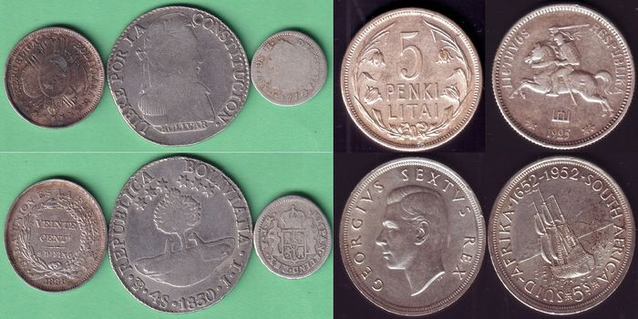 World - Lot various coins 1734/1952 (5 pieces)  - Silver