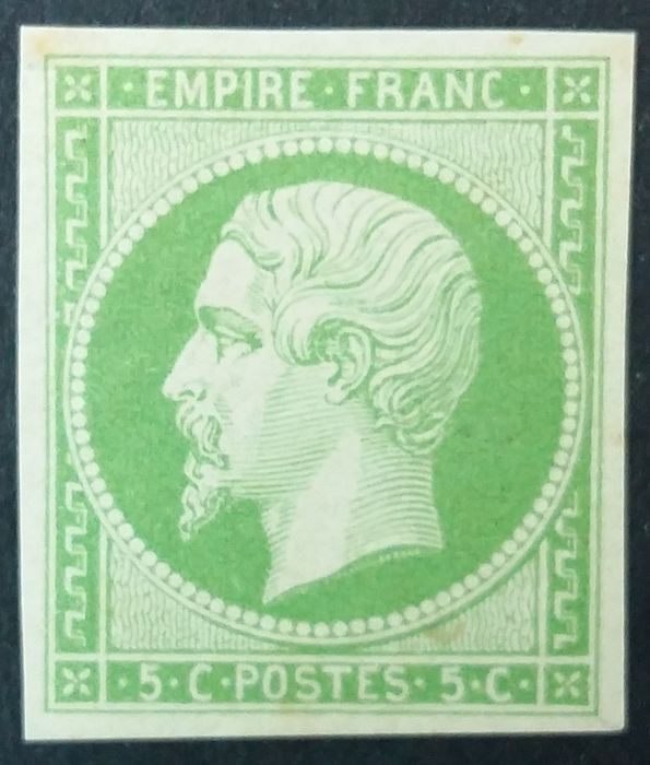France 1854 - Napoleon III imperforate, 5 centimes green - Yvert 12