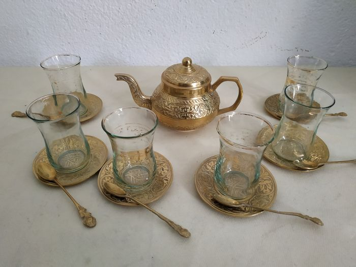 Tea set 19 pieces - Bronze (gilt/silvered/patinated/cold painted), Crystal
