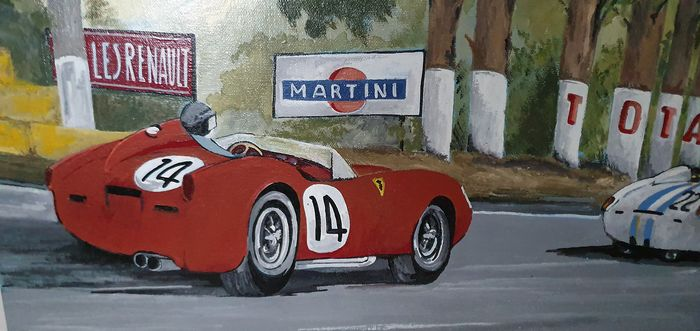 Commemorative painting with dedication - 1000 miglia - 1964