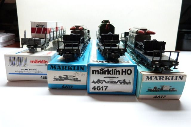 Märklin H0 - 4617/4668 - Freight carriage - 3 low loaders and 1 stake car, all with load - DB, SBB-CFF