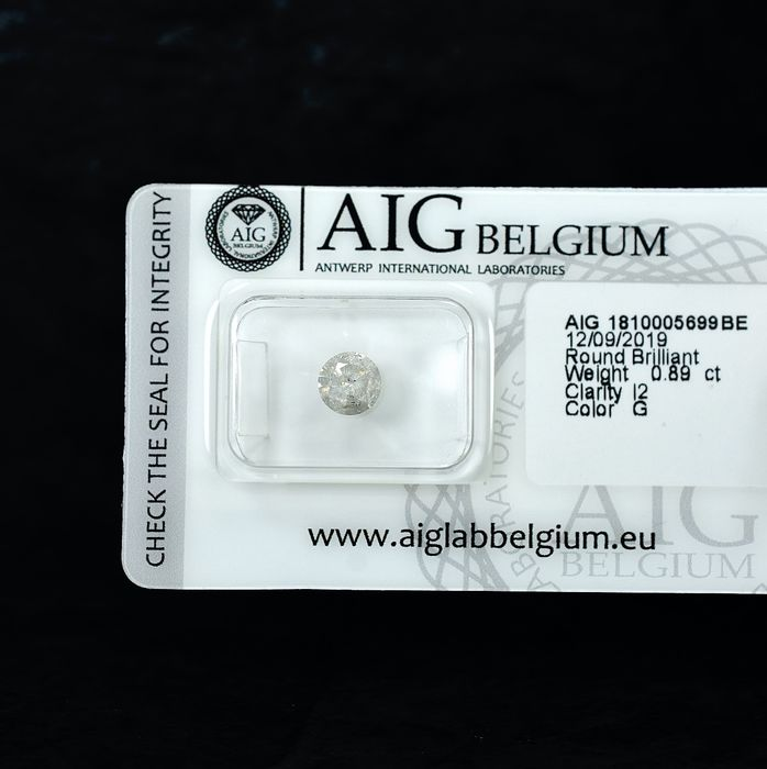 Diamond - 0.89 ct - Brilliant - G - I2 - NO RESERVE PRICE - VG/VG/VG