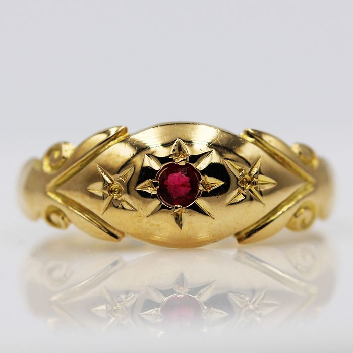 18 kt. Yellow gold - Ring - 0.09 ct Ruby