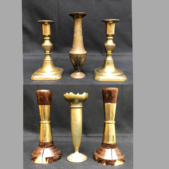Candlestick, Vase - Brass, Silverplate, Wood