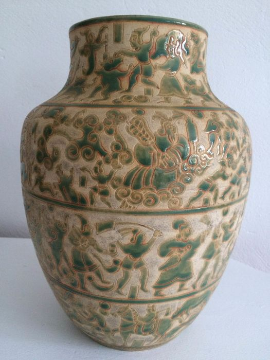 Large Baluster vase signed by hand with stamp - Ceramic - Bien Hoa - Vietnam - around 1930/40