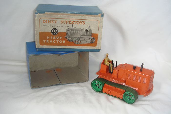 """Dinky SuperToys - 1:48 - First Issue """"Blaw-Knox Heavy Tractor"""" no.563 - In Original First Issue """"orange"""" Box - 1948"""