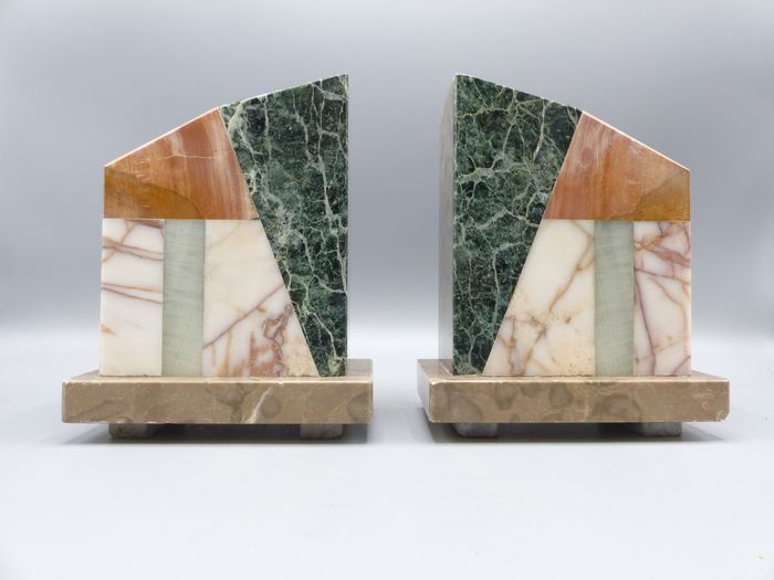 A set of stylish marble art deco bookends (2)