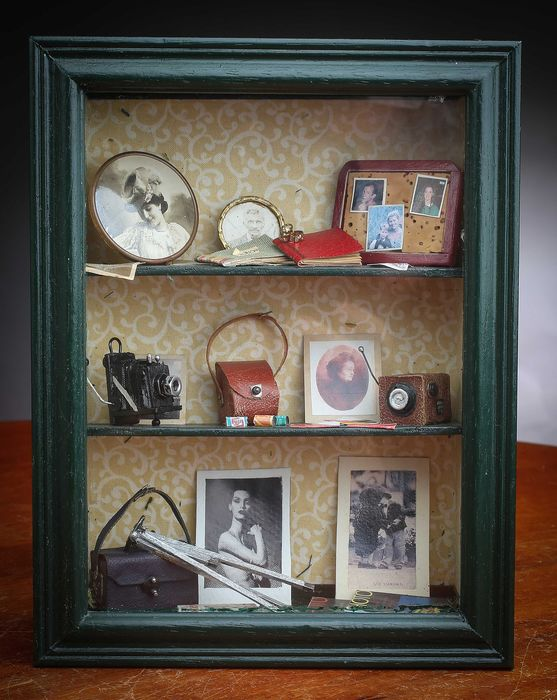 UNIQUE : Vitrine  de Miniatures Photographique  Vintage