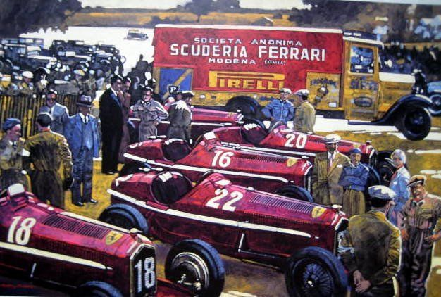 Fine Art Print - Scuderia Ferrari Team 1934 Preparing the Alfa Romeo's