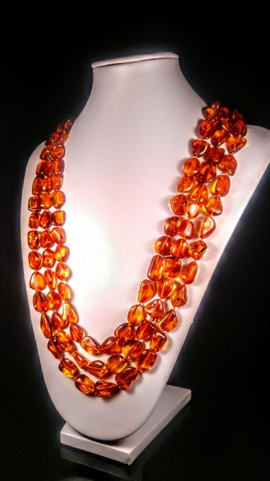 Cognac colour Baltic amber - Necklace - Natural (untreated)
