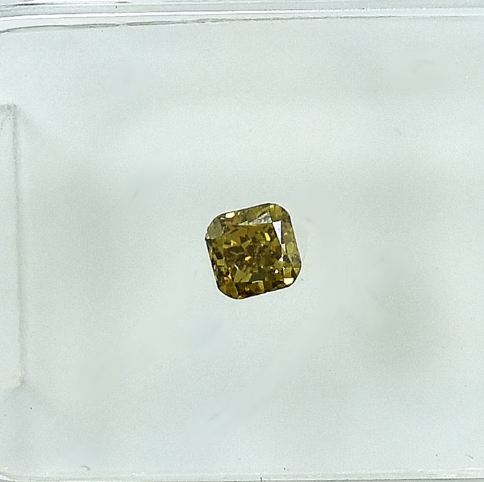 Diamond - 0.19 ct - Cushion - Natural Fancy Deep Brownish Yellow - IF (flawless), NO RESERVE PRICE