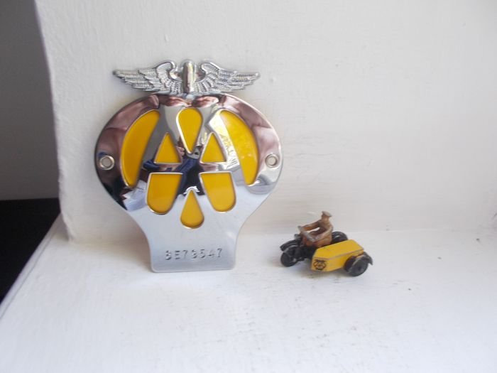 Badge - Vintage AA chrome on brass car badge mint and AA Patrol man on Motorcycle early - 1950-1967