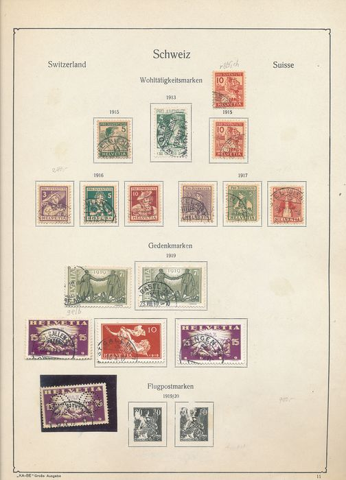 Switzerland 1909/1966 - Specialised collection with various block issues, plate errors and combinations