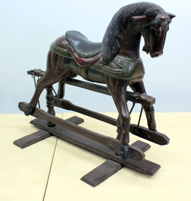Decorative wooden rocking horse - Steel, Wood