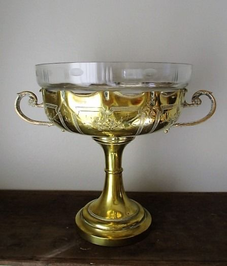 Environmental the table with silvered inside and glass coupe. - Brass, Glass, Silver plated - Ca 1900