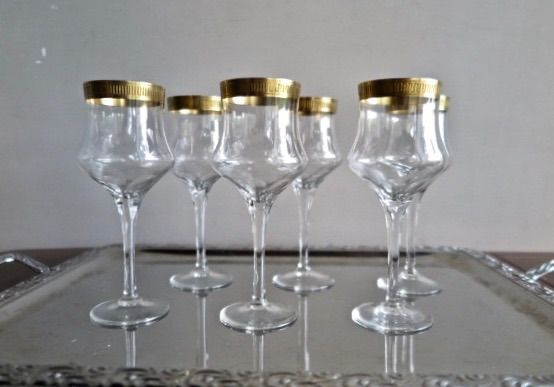 Ischendorf Glasshütte - Set of 6 Sherry / Port glasses (part of a whole) - Hand cut crystal - 24 carat Gold rim 10mm