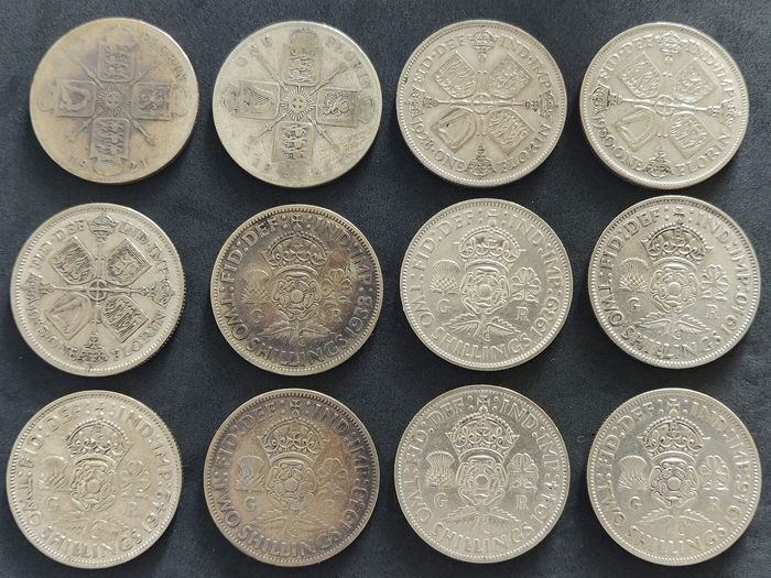 Great Britain - Florin (Two Shillings 1921-1946 (12 Pieces) - Silver