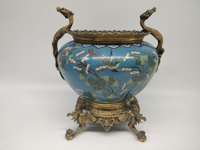 pot / planter cache - Cloisonne enamel - magpie, flowers - China - Daoguang (1821-1850)