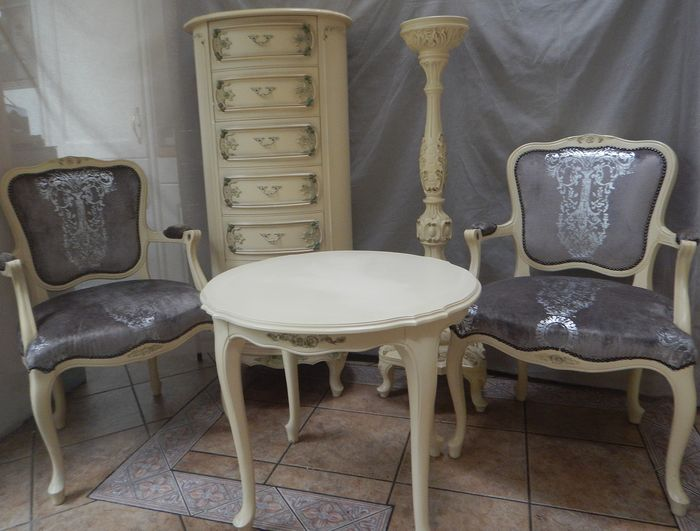 Two chairs, matching round table, oval cupboard and table lamp pillar
