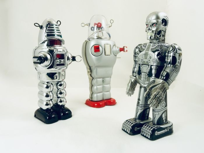 TinToyArcade and Ha Ha Toys - Robot 1 Skeleton Cyborg Robot and 2 Robby the robot - 2000-present