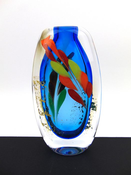 Maxence Parot  - Massive single vase Blue and gold - Glass