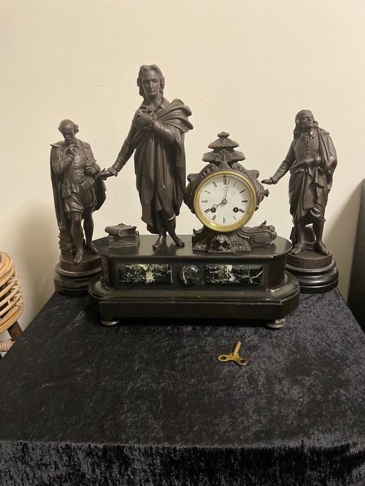 clock set - jappy freres  - zamak and marble - Second half 19th century