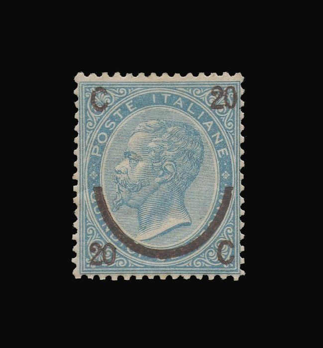 Italy Kingdom 1865 - 20 cents on 15, sky blue, horseshoe 3rd type - Sassone N. 25