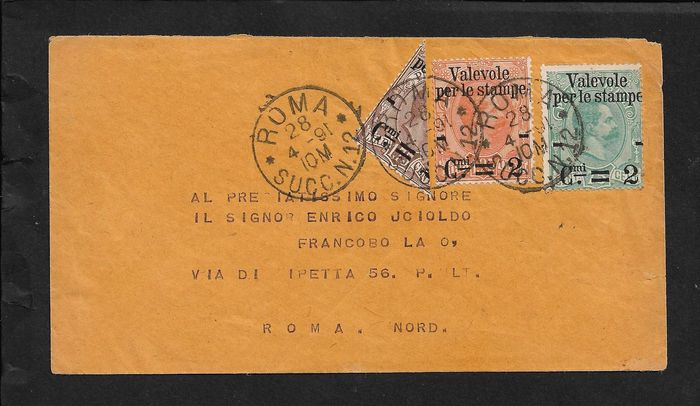 Italy Kingdom 1890 - Valid for prints 2 c. on 1.75 cut diagonally with c. 2 on 1.25 and 2 c. on 75 - Sassone N. 53, 54, 55