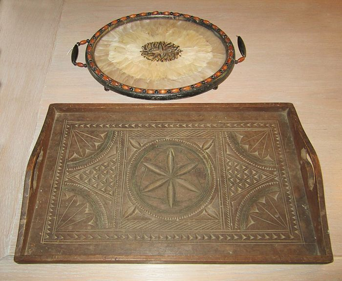 Victorian trays (2) - Wood Glass Feathers