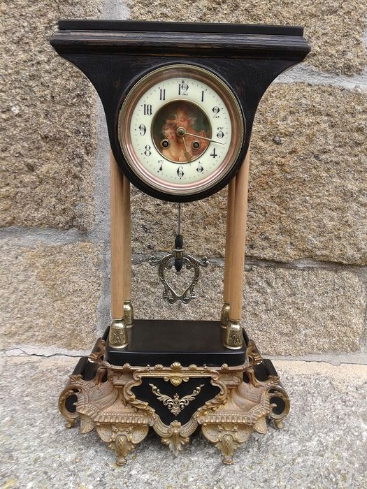 Fireplace clock, Paris, columns, large format - Bronze, Marble, Wood, Ebony - Late 19th century