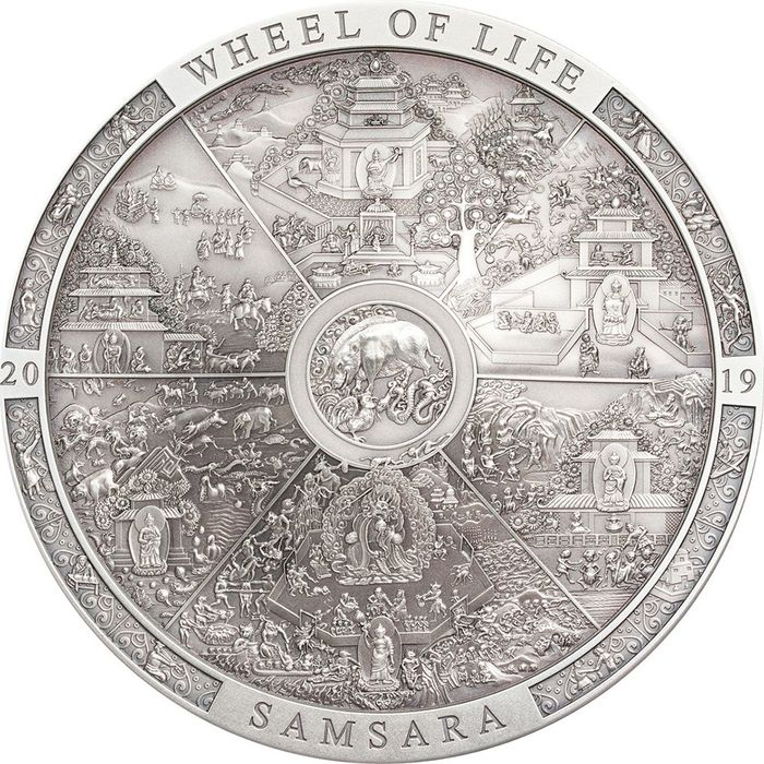"Cook Islands. 20 Dollars - 2019 - ""SAMSARA WHEEL OF LIFE"" - Calendario - Archeology Symbolism - 3 Oz"
