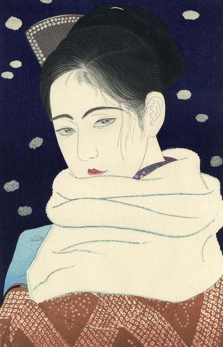 "Gravure originale sur bois, Edité par Narazaki Muneshige - Kobayakawa Kiyoshi 小早川清 (1897-1948) - ""Hitomi"" 瞳 (The pupil) - From the series ""Modern Styles of Makeup"" - Période Heisei (1989-2019)"