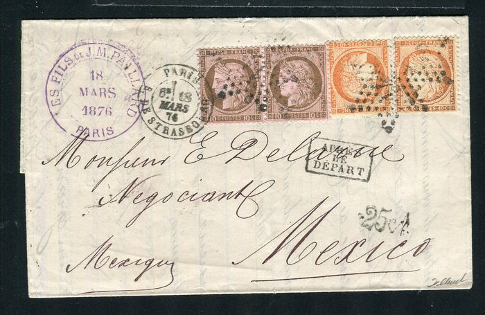 Francia 1876 - Rare letter from Paris bound for Mexico with the No. 38 and 54 stamps