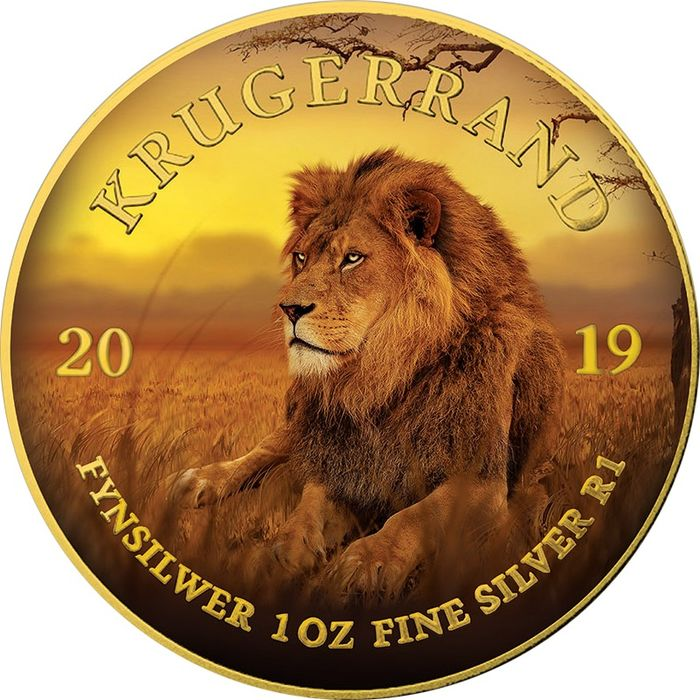 "South Africa - 1 Rand  - 2019 - ""LION"" - Leone Krugerrand Big Five - 1 Oz - Silver"