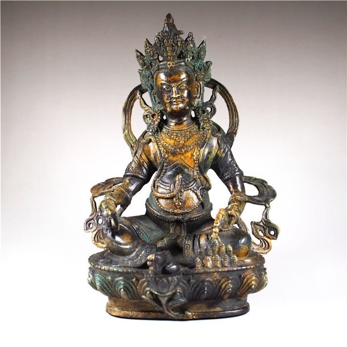 Statue - Brass - Yellow God of wealth - Nepal - Late 20th century