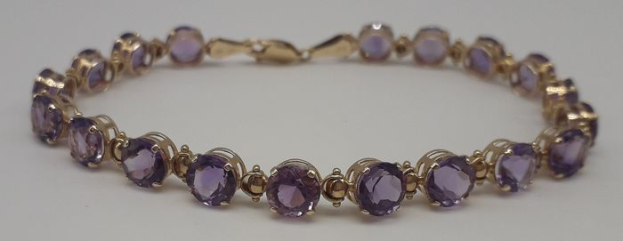 Amethyst (9.90ct) - 9K Yellow gold - Bracelet