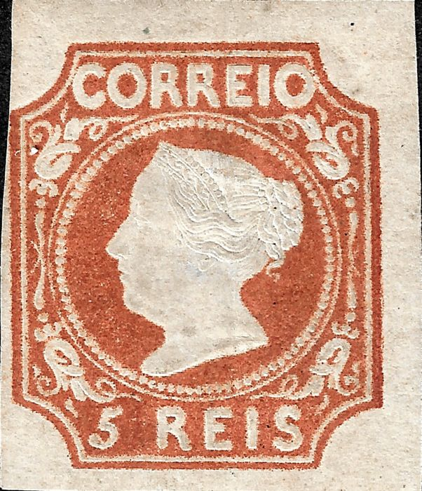 Portugal 1853 - Dona Maria 5 reis brown red - Mundifil 1