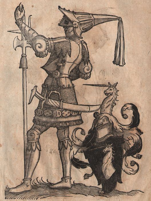 Christoph Weiditz II (1517 - 1572) - Renaissance Woodcuts - Knights in Armor - Unicorn